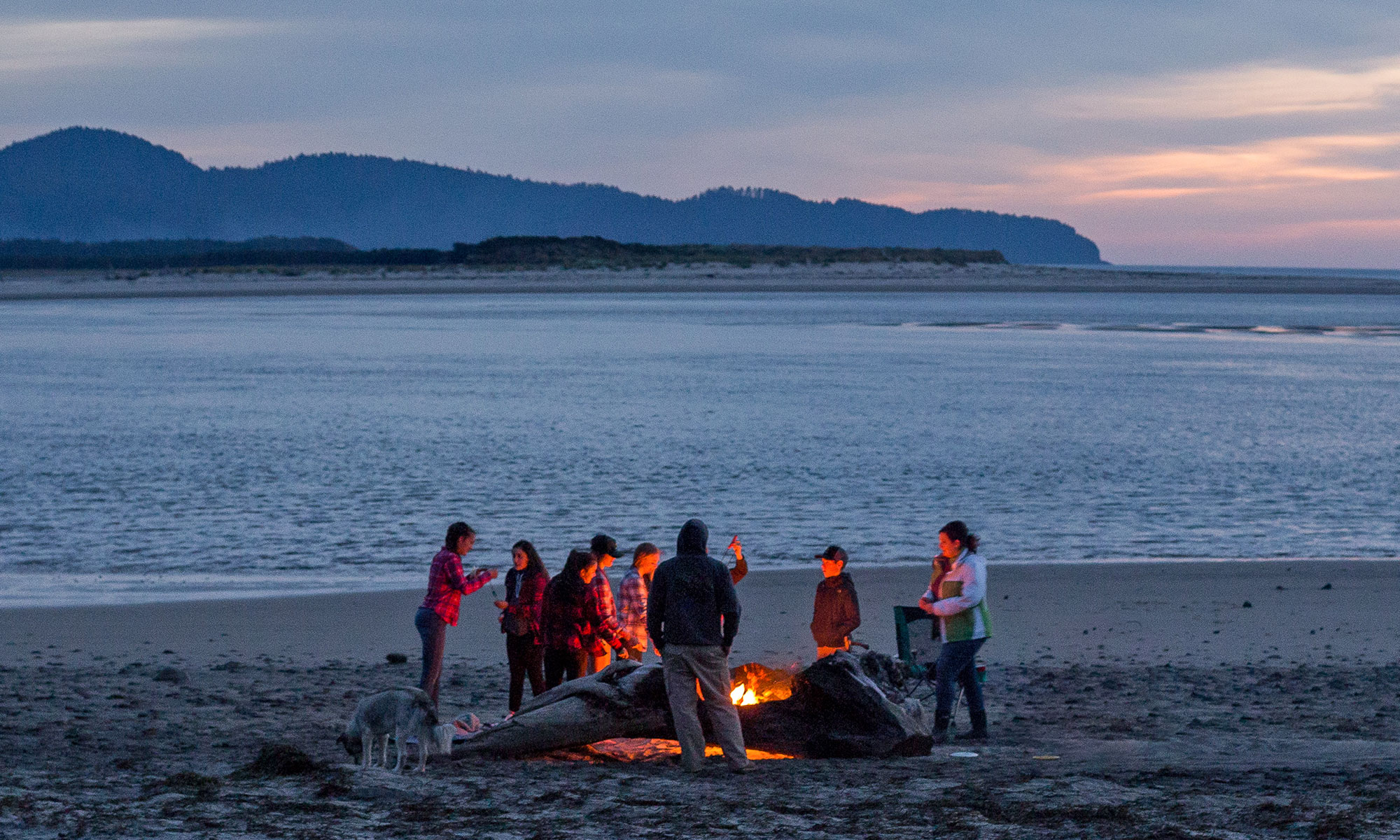 beach campfire evening